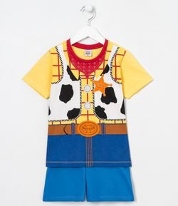 Pijama Infantil Curto Woody Toy Story - Tam 3 a 8 anos