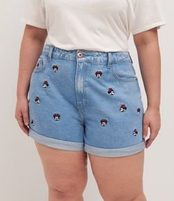 Short Jeans com Bordados Minnie Curve & Plus Size