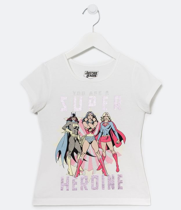 Blusa Infantil Super-Heroínas - Tam 5 a 14 anos   Dc Comics   Branco   9-10