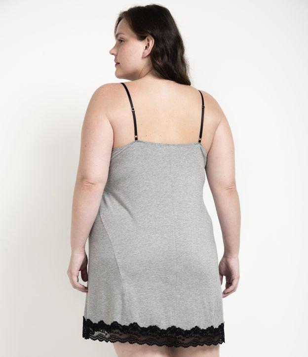Camisola Curta de Alcinha em Viscolycra com Detalhes em Renda Curve & Plus Size | Ashua Curve e Plus Size | Cinza | G