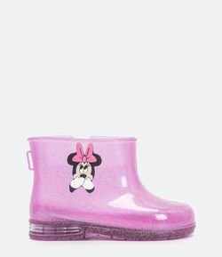Bota Infantil Galocha com Led Estampa da Minnie - Tam 23 ao 28