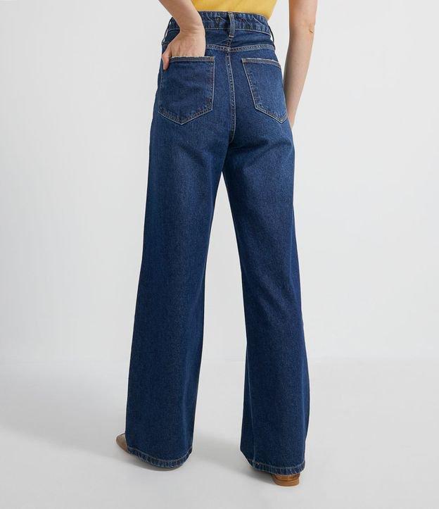 Calça Wide Leg Jeans Lisa com Pespontos | Cortelle | Azul | 46