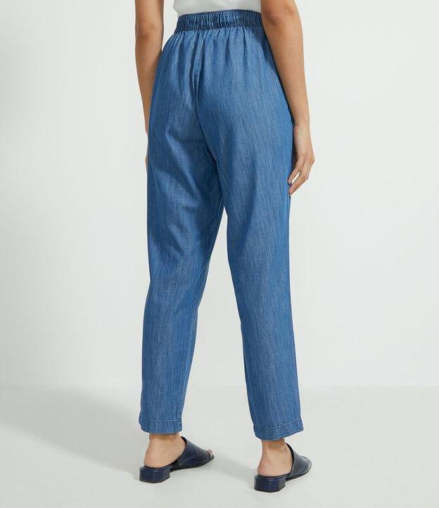 Calça Comfort Jeans com Cos Elástico e Amarração   Marfinno   Azul   P