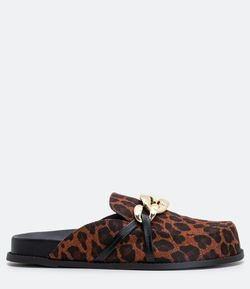 Sapatilha Mule Clog Estampa Animal Print Satinato