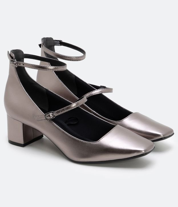 Sapato com Salto Baixo Satinato   Satinato   Cinza   38