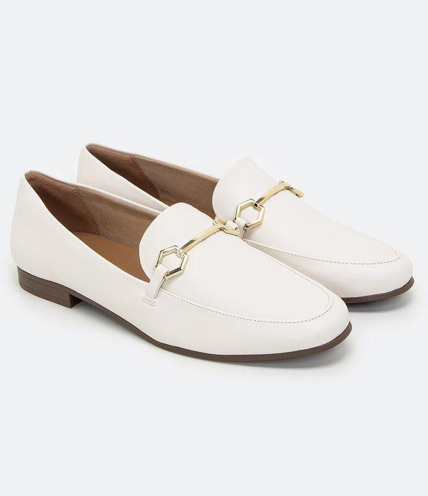 Sapato Mocassim Com Fivela   Satinato   Branco   39