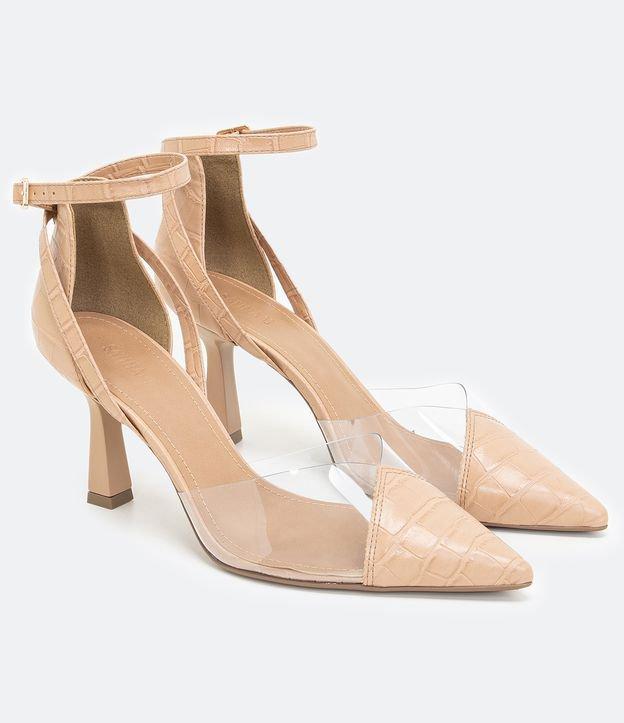 Sapato Scarpin Bico Fino e Salto Alto | Satinato | Bege | 39